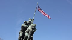 Iwo Jima Memorial Marine Corp flag close Washington DC hd 037 Stock Footage