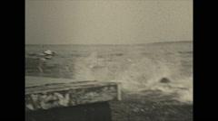 Vintage 16mm film, 1934, Ontario, Kawartha Lakes teens, early wakeboard Stock Footage