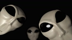 Alien grey heads faces creepy extraterrestrial gray abduction creature ufo 4k Stock Footage