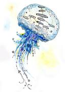 Watercolor and Ink Jellyfish Painting - stock illustration