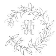 Home sweet home, hand drawn inspirational floral graphic - stock illustration