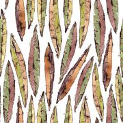 Seamless Pattern with Watercolor Willow Leaves - stock illustration