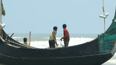 Fishing by Boat in Cox Bazar Sea Beach - stock footage