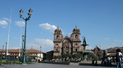 Winde-angle view of Plaza de Armas in Cusco, Peru Stock Footage