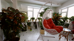 Red Rocking Chair in Luxury Apartment Interior. Stock Footage