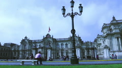 Wide-angle shot of the presidential palace in Lima Stock Footage