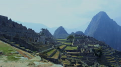 Medium shot of the Inca town of Machu Picchu - stock footage