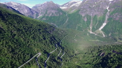 Norwegian scenic mountain road Gaularfjellet, aerial view Stock Footage