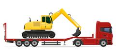 truck semi trailer delivery and transportation of construction machinery conc - stock illustration