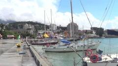 Port in town Yalta, Crimea Stock Footage