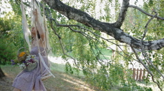 Young woman teeter in the shadow of the tree - stock footage
