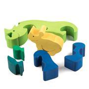wooden rhino toy - stock photo