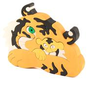 wooden tiger puzzle toy - stock photo
