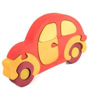 wooden car puzzle toy - stock photo