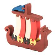 wooden toy ship - stock photo