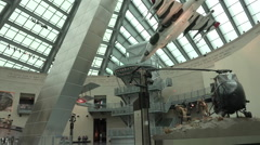 Quantico VA National Museum of the Marine Corp atrium display HD Stock Footage