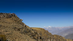 Time lapse of tourists at the Colca Canyon in Peru Stock Footage