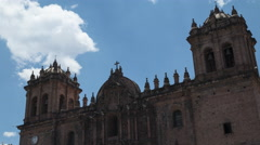 Time lapse of clouds over the Cathedral of Cusco, Peru Stock Footage