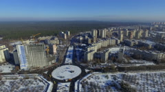 Fly over residential areas of Kiev Stock Footage