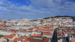 Lisbon cityscape view with clouds at sunny day Stock Footage