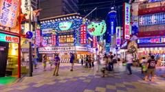 Osaka, Japan Nightlife Time Lapse in the Shinsekai District Stock Footage