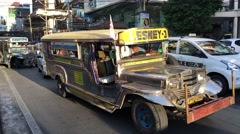 Jeepneys during rush hour Stock Footage