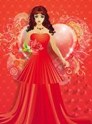 Lady in red dress with hearts - stock illustration