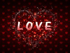 Red hearts pattern love word - stock illustration