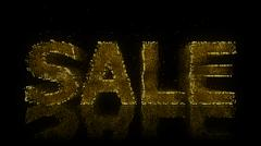 Sale Sign Made of Glowing Particles On Reflective Surface. - stock illustration