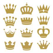 Crown icons isolated on white background - stock illustration