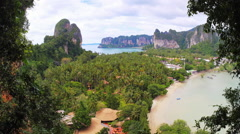 Aerial view of Railay resort in Krabi, Thailand from Viewpoint. Exotic nature Stock Footage
