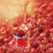 Valentine background with girl - stock illustration