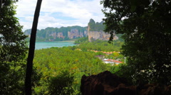 Exotic nature of Thailand. Panoramic view of mountains in Krabi province Stock Footage