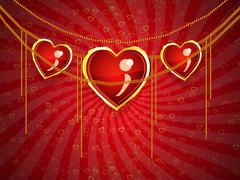 Valentine jewelry hearts - stock illustration