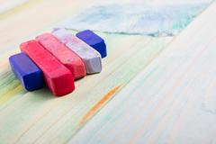 Artistic, artist, art. Used artist paintbrushes on wood background - stock photo