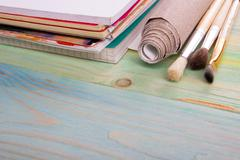 Artistic, artist, art. Used artist paintbrushes on wood background Stock Photos
