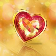 Wedding rings in glossy heart Stock Illustration