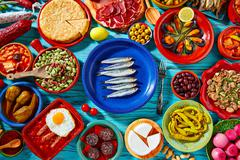 Tapas from spain mix of Mediterranean food Stock Photos