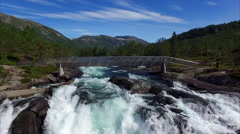 Flying under the bridge above waterfall Likholefossen in Norway Stock Footage