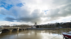 Angers, France Cathedral and River Day Timelapse Stock Footage