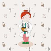 Illustration of doctor in a white coat - stock illustration