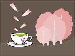 Tea and sakura flower illustration Stock Illustration