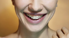Beautiful Smiling Girl with Retainer for Teeth, Close-up Stock Footage