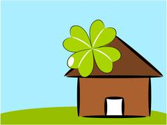 Home and nature illustration - stock illustration