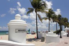 Sebastian Beach Entrance Fort Lauderdale Kuvituskuvat