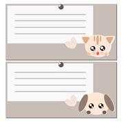 Cartoon dog and cat note illustration Stock Illustration
