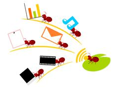 Red ants wireless lan teamwork illustration Stock Illustration