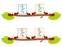 Red ants hard to do work illustration - stock illustration