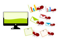 Red ants and computer illustration Stock Illustration