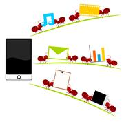 All in one  smartphone and red ants illustration Stock Illustration